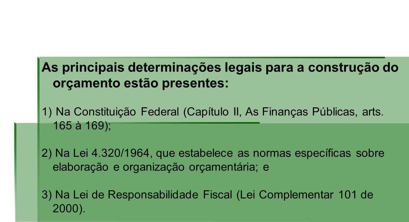 As principais determinações legais para a construção do orçamento estão presentes: