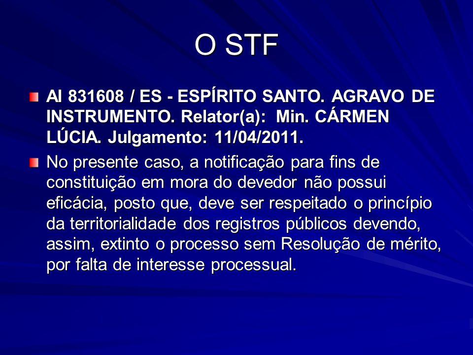 O STF AI 831608 / ES - ESPÍRITO SANTO. AGRAVO DE INSTRUMENTO. Relator(a): Min. CÁRMEN LÚCIA. Julgamento: 11/04/2011.