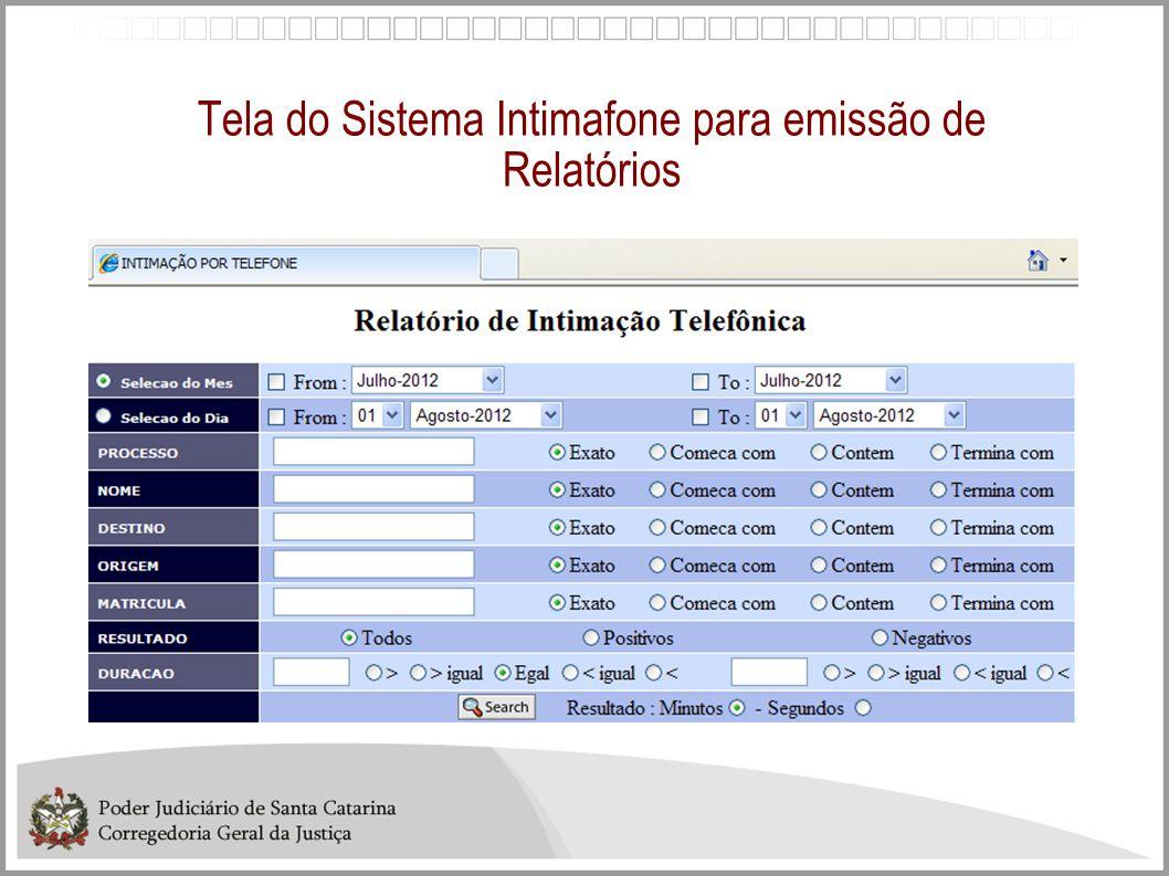 Tela do Sistema Intimafone para emissão de Relatórios