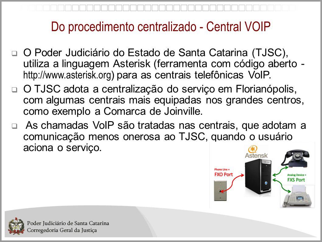 Do procedimento centralizado - Central VOIP