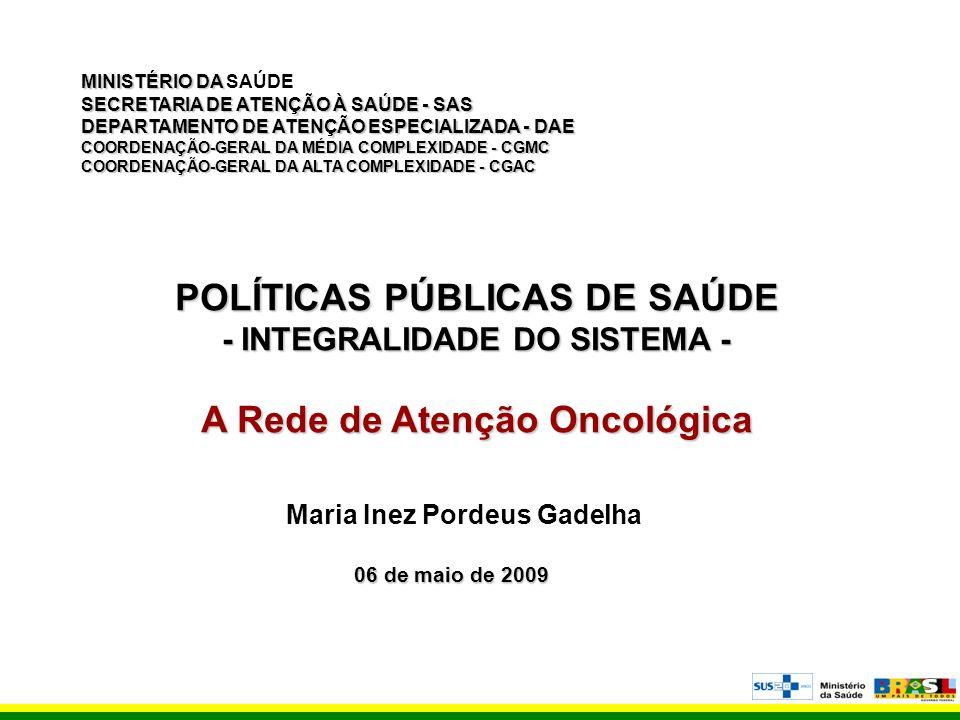 POLÍTICAS PÚBLICAS DE SAÚDE A Rede de Atenção Oncológica