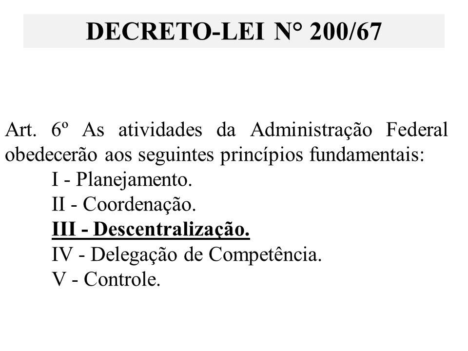 Art. 6º As atividades da Administração Federal obedecerão aos seguintes princípios fundamentais: