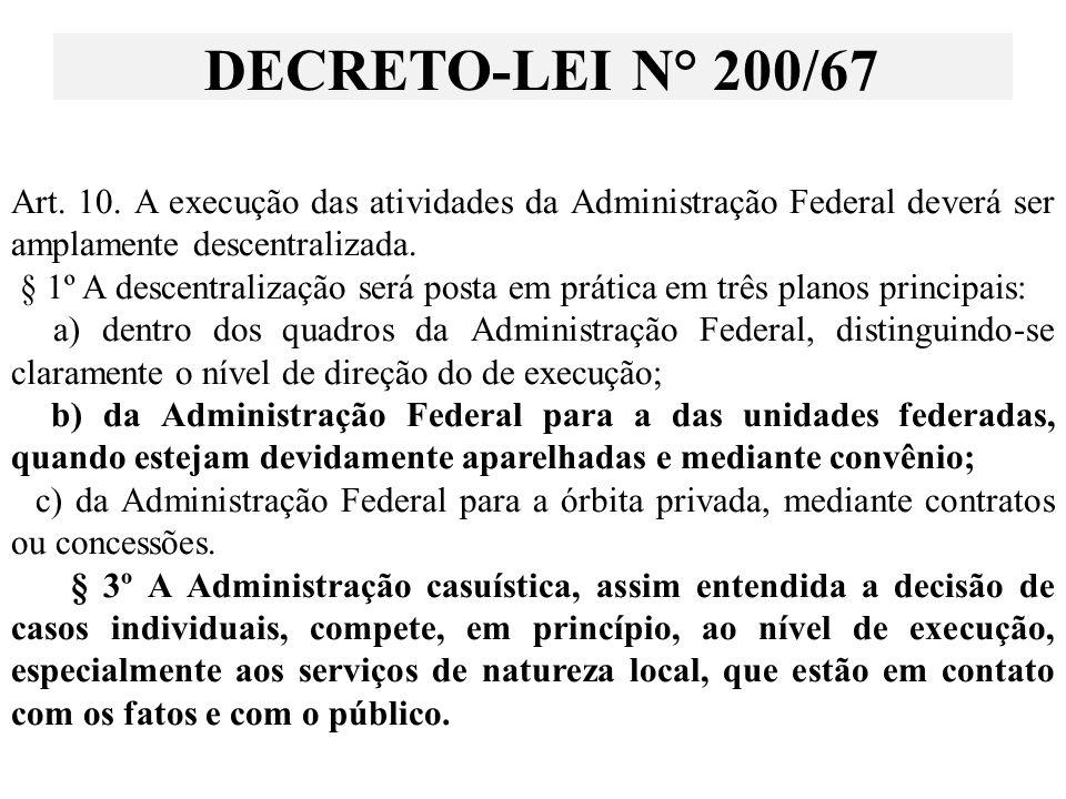 Art. 10. A execução das atividades da Administração Federal deverá ser amplamente descentralizada.