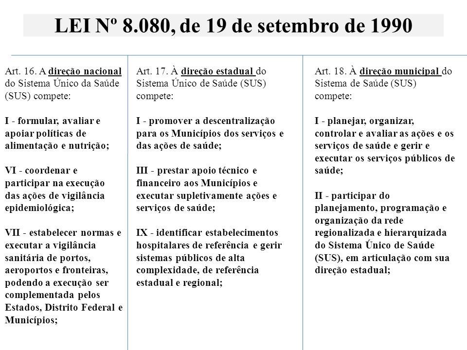 LEI Nº 8.080, de 19 de setembro de 1990 Art. 16. A direção nacional do Sistema Único da Saúde (SUS) compete: