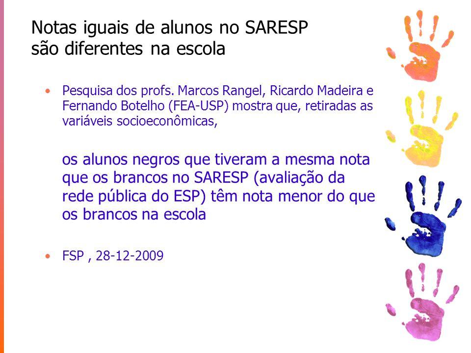 Notas iguais de alunos no SARESP são diferentes na escola