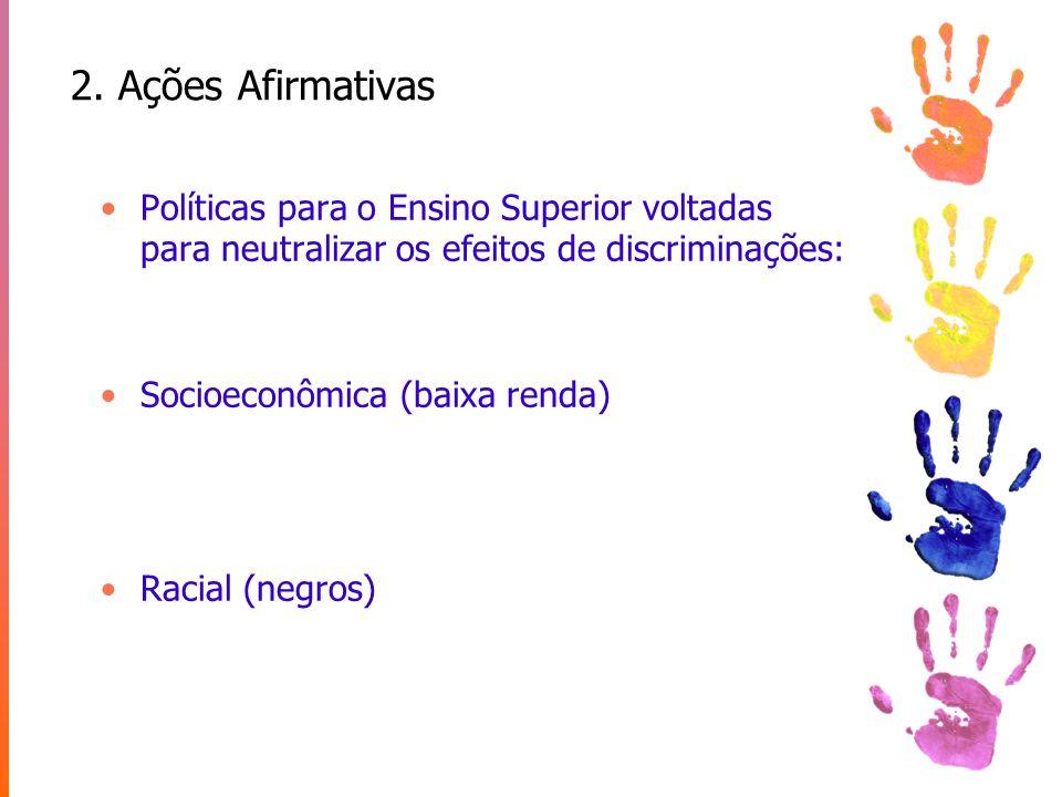 2. Ações Afirmativas Políticas para o Ensino Superior voltadas para neutralizar os efeitos de discriminações: