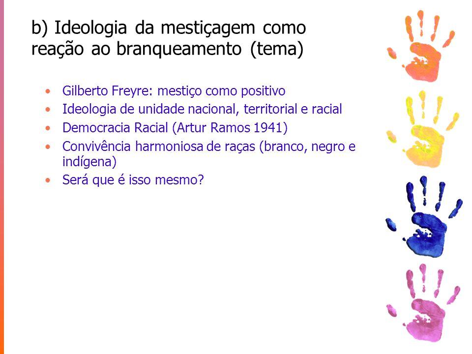 b) Ideologia da mestiçagem como reação ao branqueamento (tema)