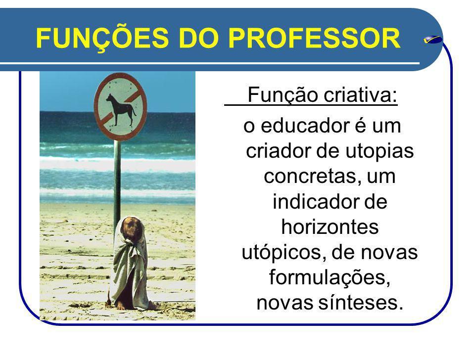 FUNÇÕES DO PROFESSOR Função criativa: