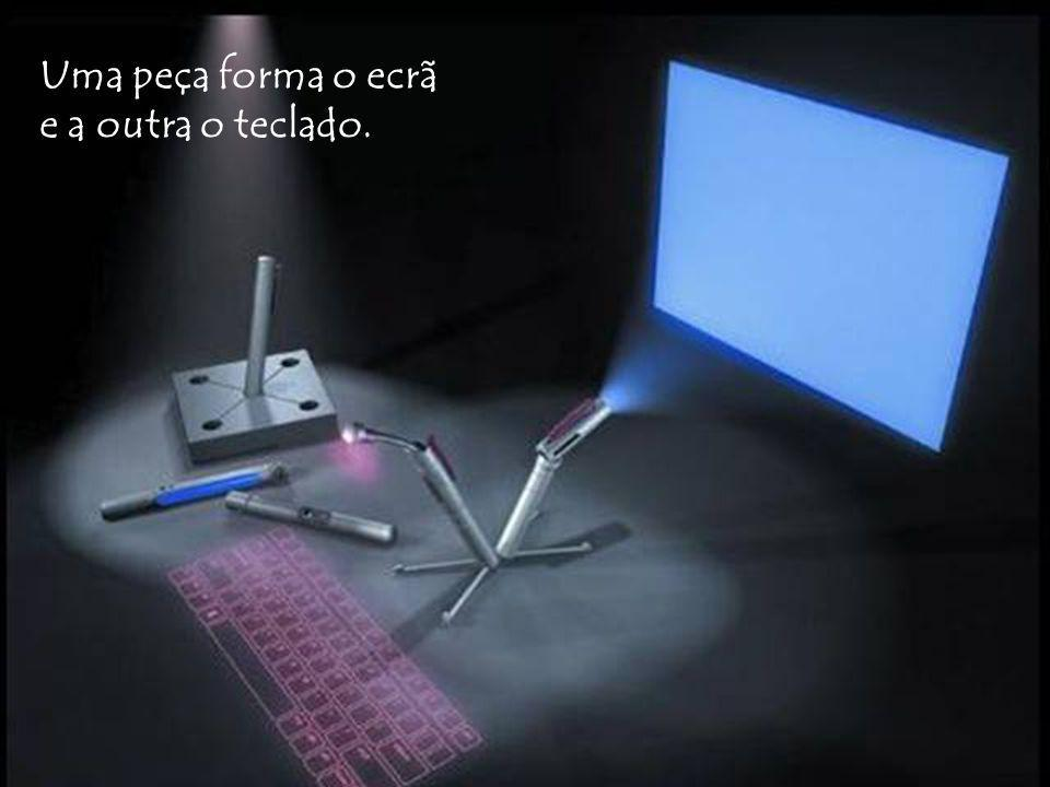 Uma peça forma o ecrã e a outra o teclado.