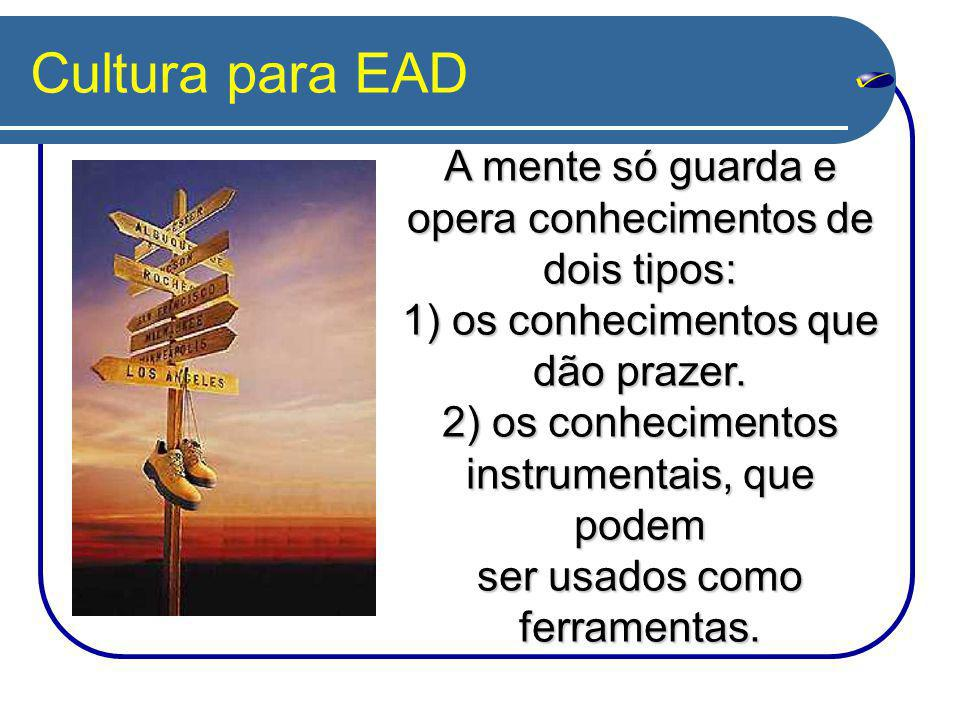 Cultura para EAD A mente só guarda e opera conhecimentos de dois tipos: 1) os conhecimentos que. dão prazer.