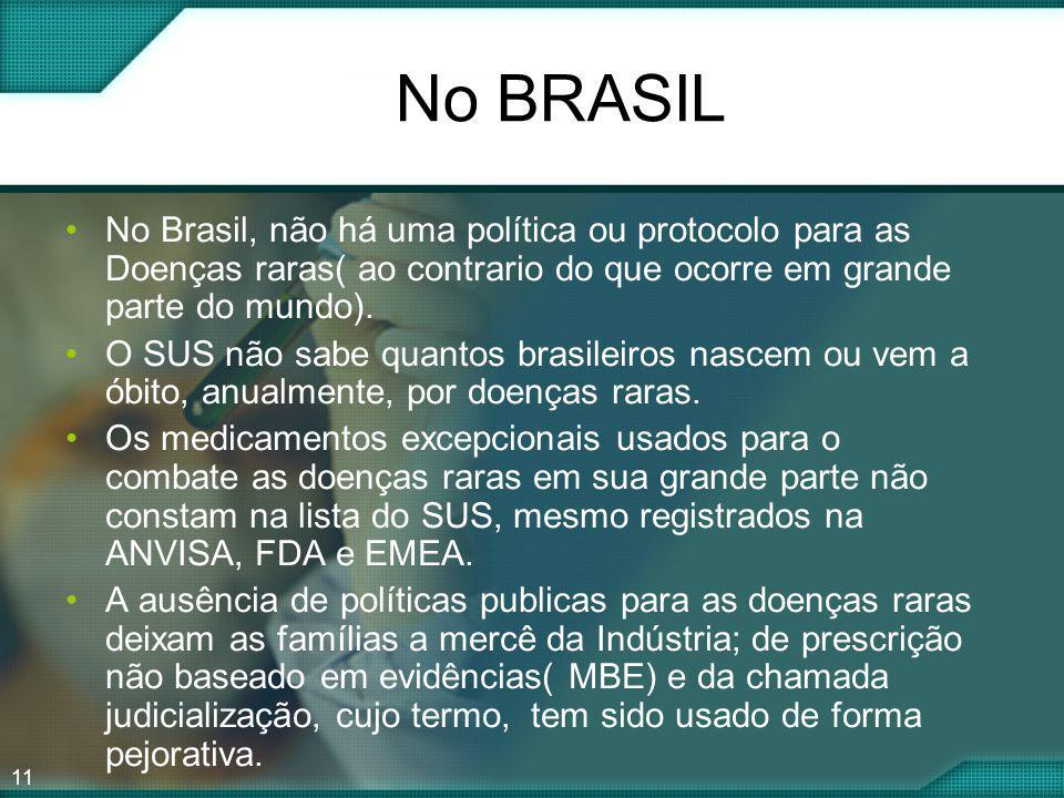 No BRASIL No Brasil, não há uma política ou protocolo para as Doenças raras( ao contrario do que ocorre em grande parte do mundo).