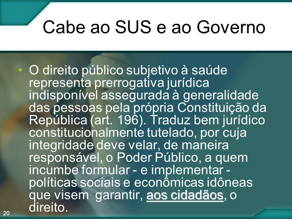 Cabe ao SUS e ao Governo
