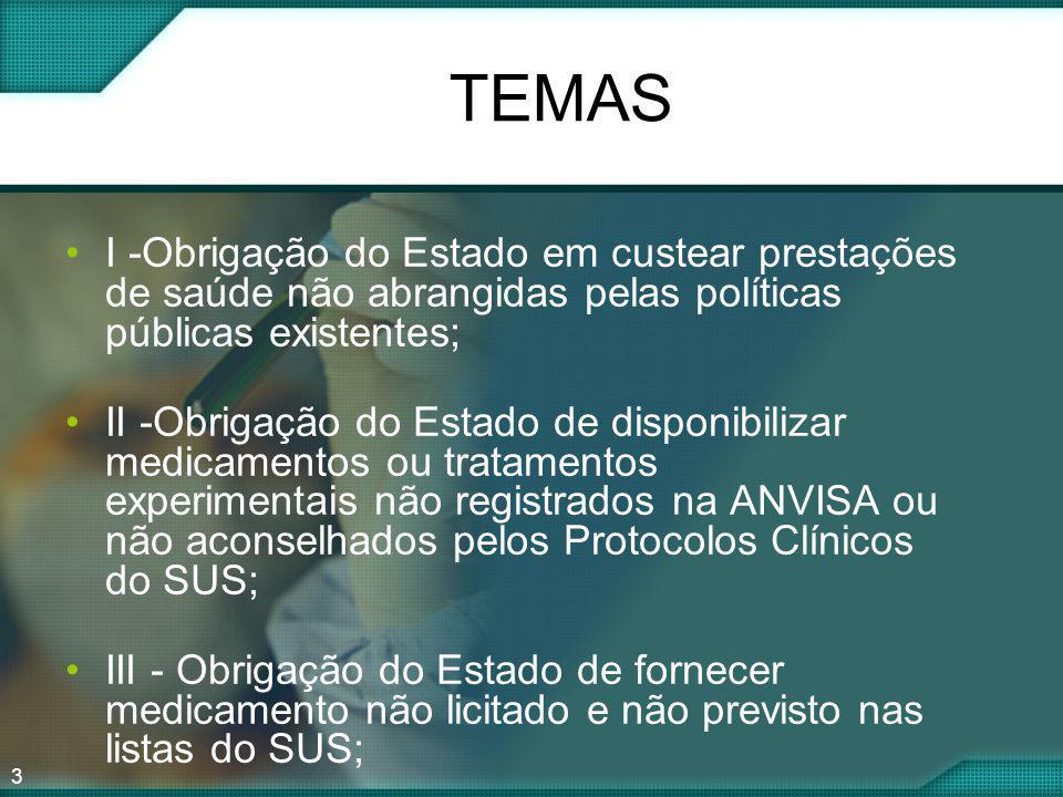 TEMAS I -Obrigação do Estado em custear prestações de saúde não abrangidas pelas políticas públicas existentes;