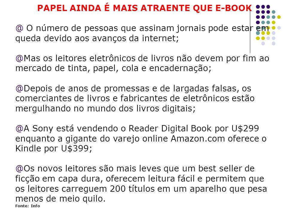 PAPEL AINDA É MAIS ATRAENTE QUE E-BOOK