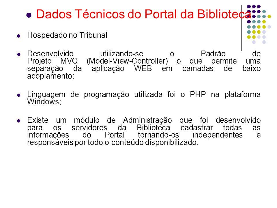 Dados Técnicos do Portal da Biblioteca