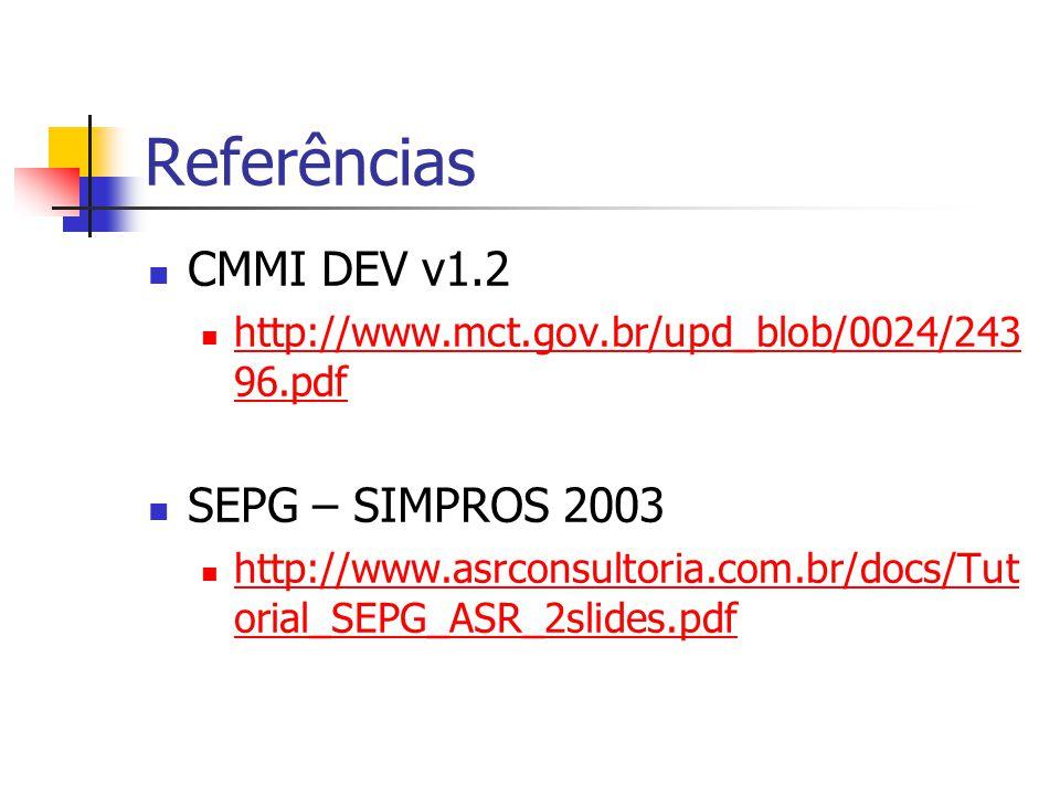 Referências CMMI DEV v1.2 SEPG – SIMPROS 2003