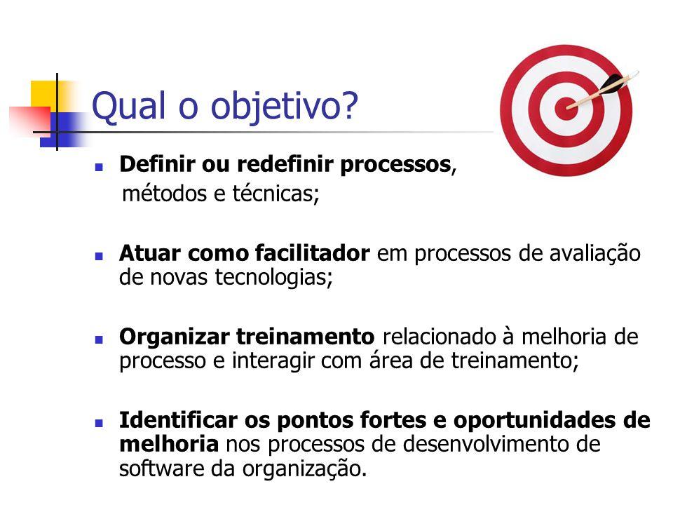 Qual o objetivo Definir ou redefinir processos, métodos e técnicas;