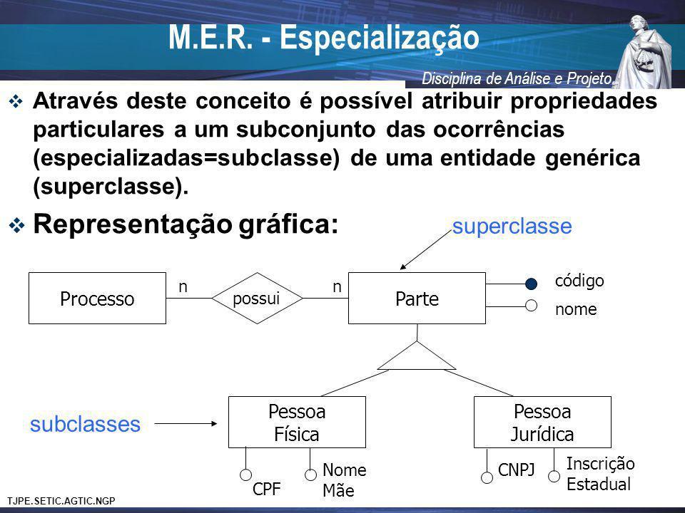 M.E.R. - Especialização Representação gráfica: