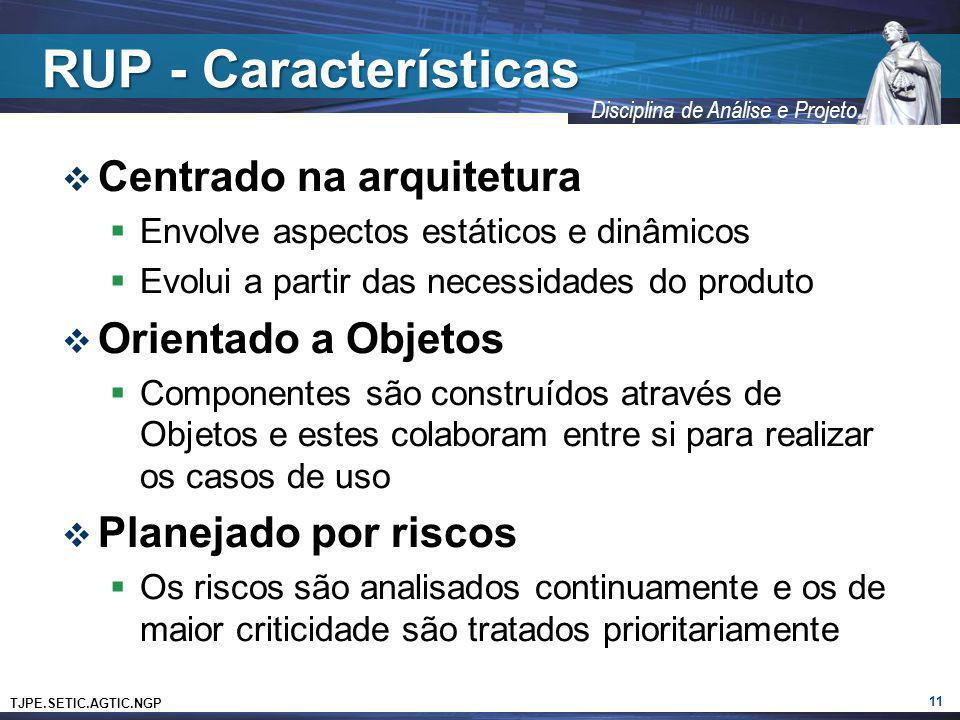 RUP - Características Centrado na arquitetura Orientado a Objetos