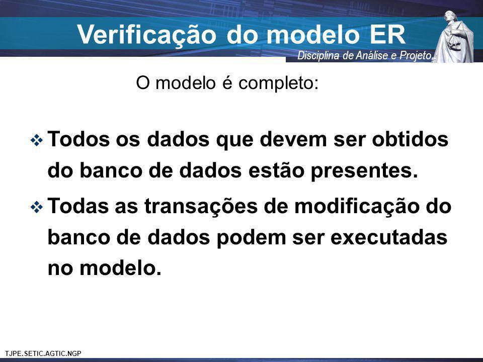 Verificação do modelo ER