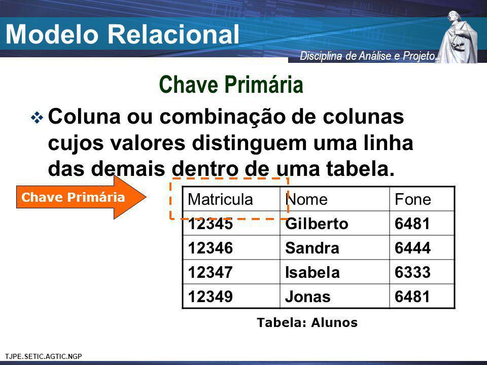 Modelo Relacional Chave Primária