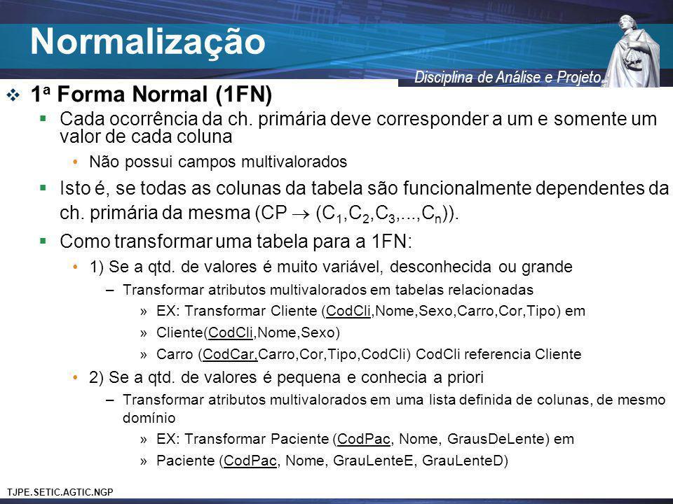 Normalização 1a Forma Normal (1FN)