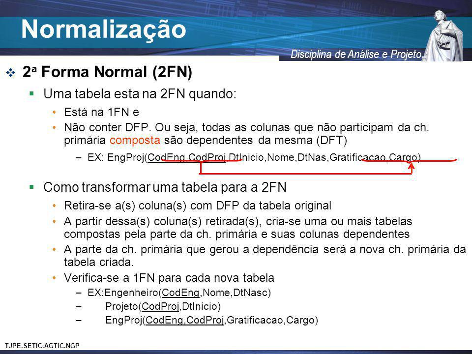 Normalização 2a Forma Normal (2FN) Uma tabela esta na 2FN quando: