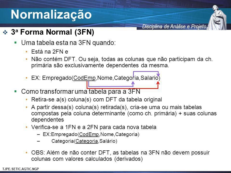 Normalização 3a Forma Normal (3FN) Uma tabela esta na 3FN quando: