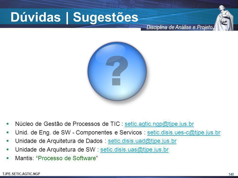 Dúvidas | Sugestões Núcleo de Gestão de Processos de TIC : setic.agtic.ngp@tjpe.jus.br.