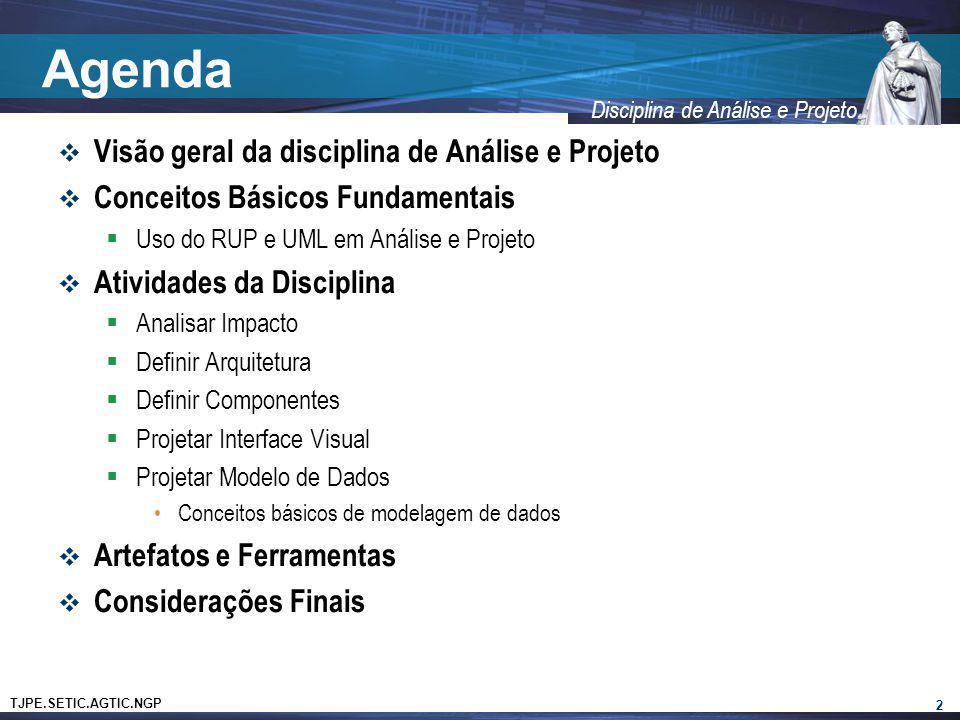 Agenda Visão geral da disciplina de Análise e Projeto