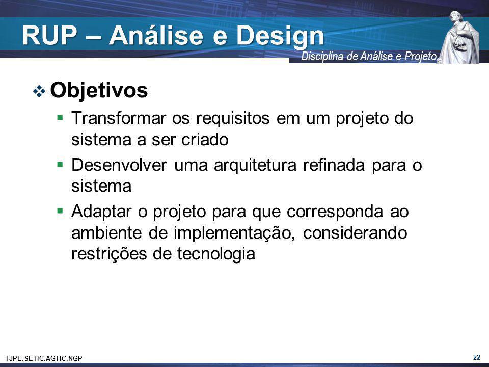 RUP – Análise e Design Objetivos