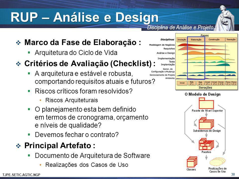RUP – Análise e Design Marco da Fase de Elaboração :