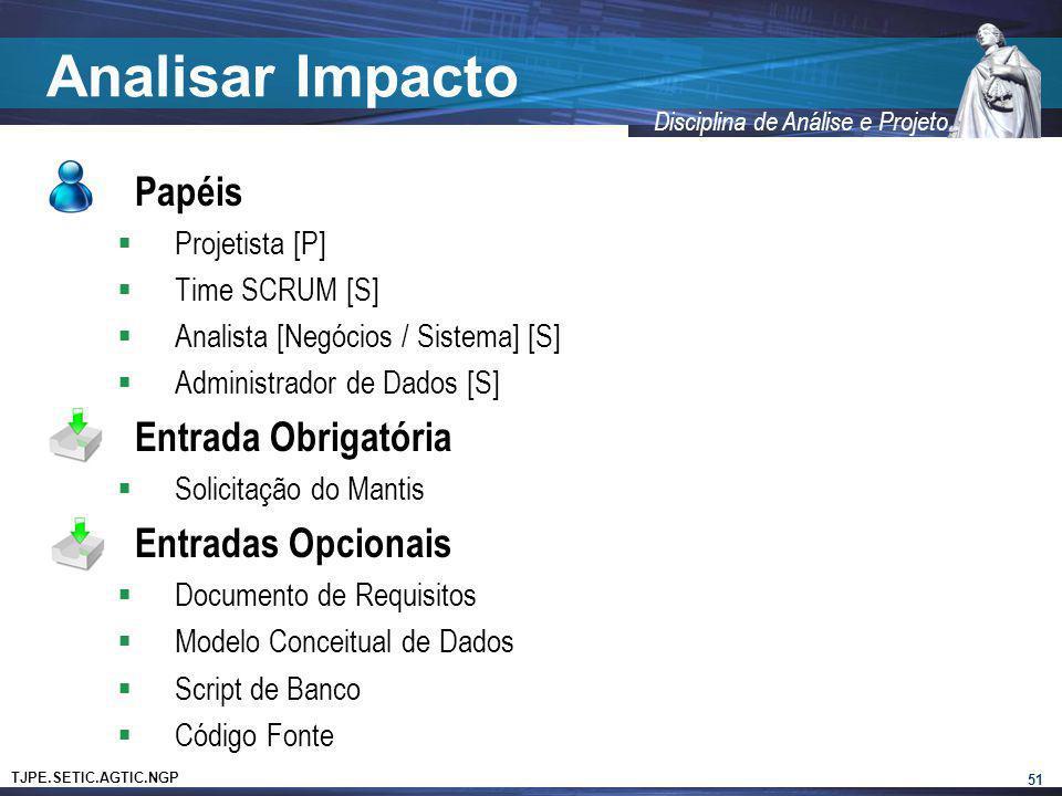 Analisar Impacto Papéis Entrada Obrigatória Entradas Opcionais