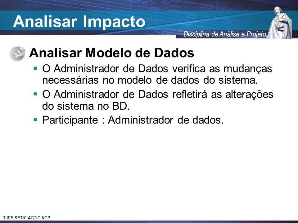 Analisar Impacto Analisar Modelo de Dados