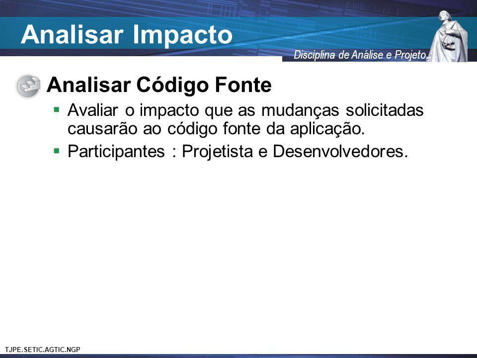 Analisar Impacto Analisar Código Fonte