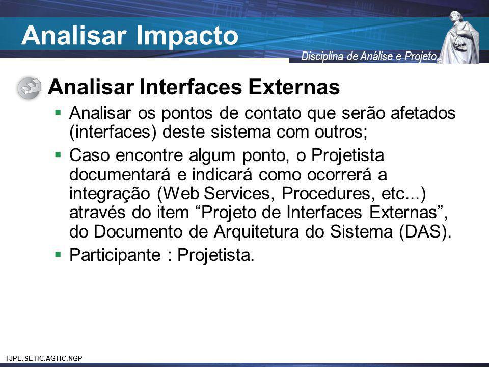 Analisar Impacto Analisar Interfaces Externas