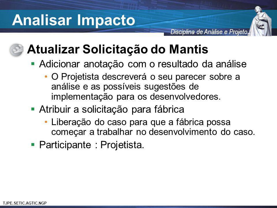Analisar Impacto Atualizar Solicitação do Mantis