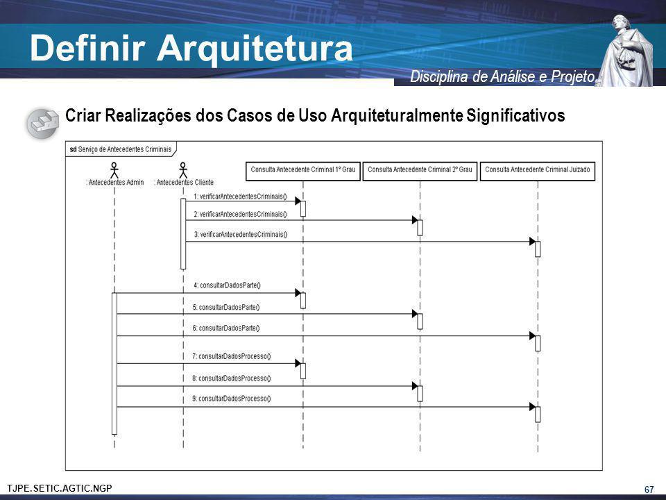 Definir Arquitetura Criar Realizações dos Casos de Uso Arquiteturalmente Significativos 67