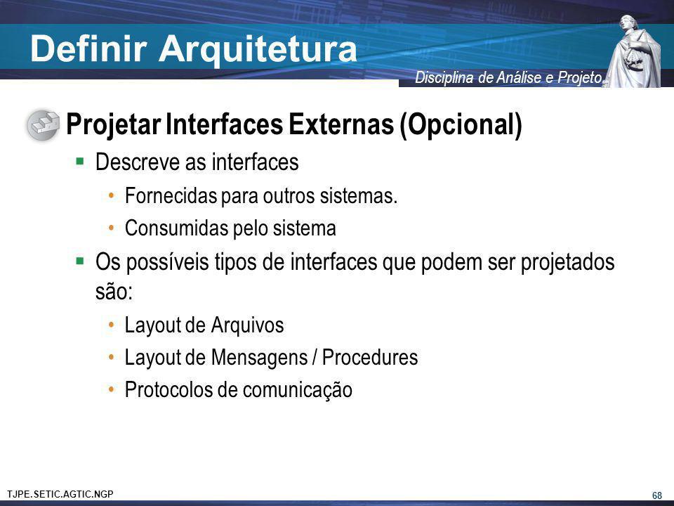 Definir Arquitetura Projetar Interfaces Externas (Opcional)