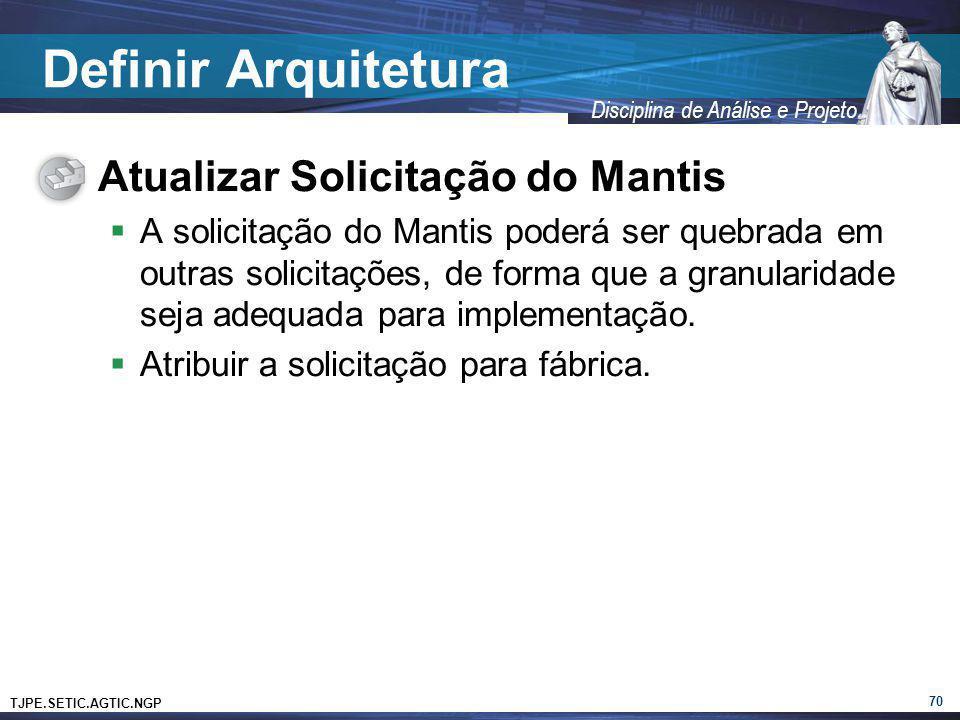 Definir Arquitetura Atualizar Solicitação do Mantis