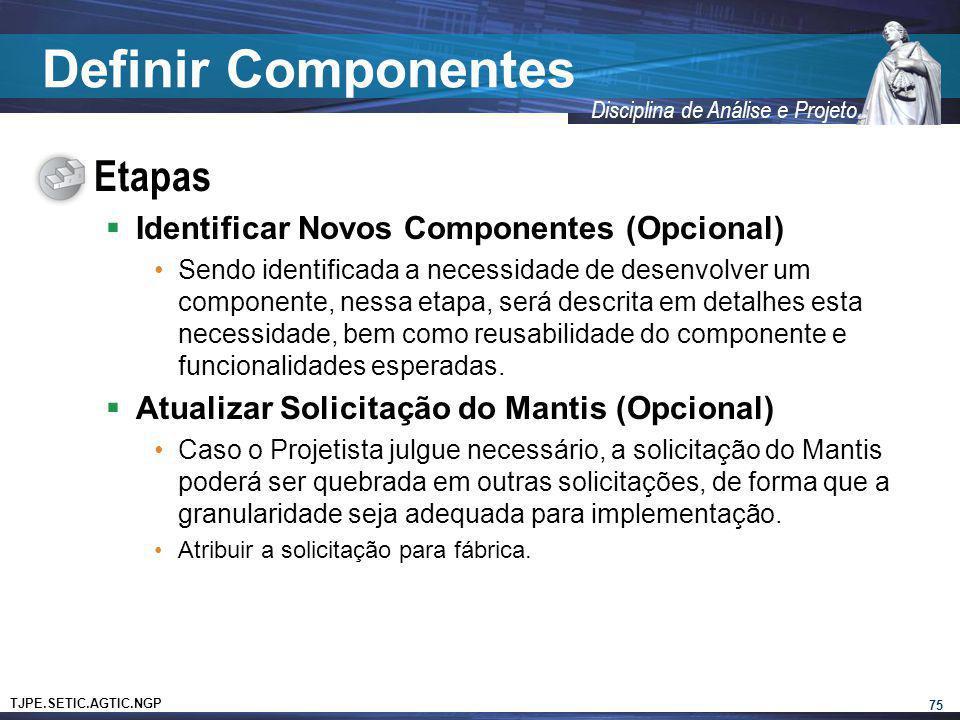 Definir Componentes Etapas Identificar Novos Componentes (Opcional)