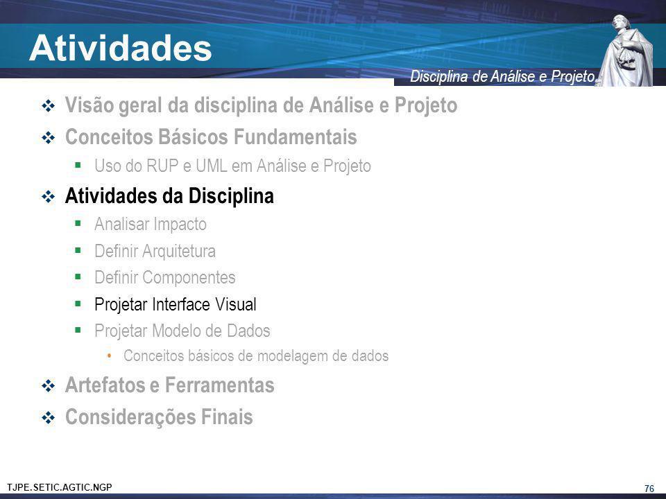 Atividades Visão geral da disciplina de Análise e Projeto