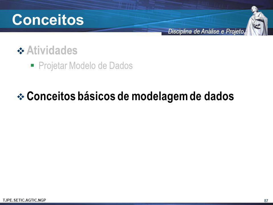 Conceitos Atividades Conceitos básicos de modelagem de dados