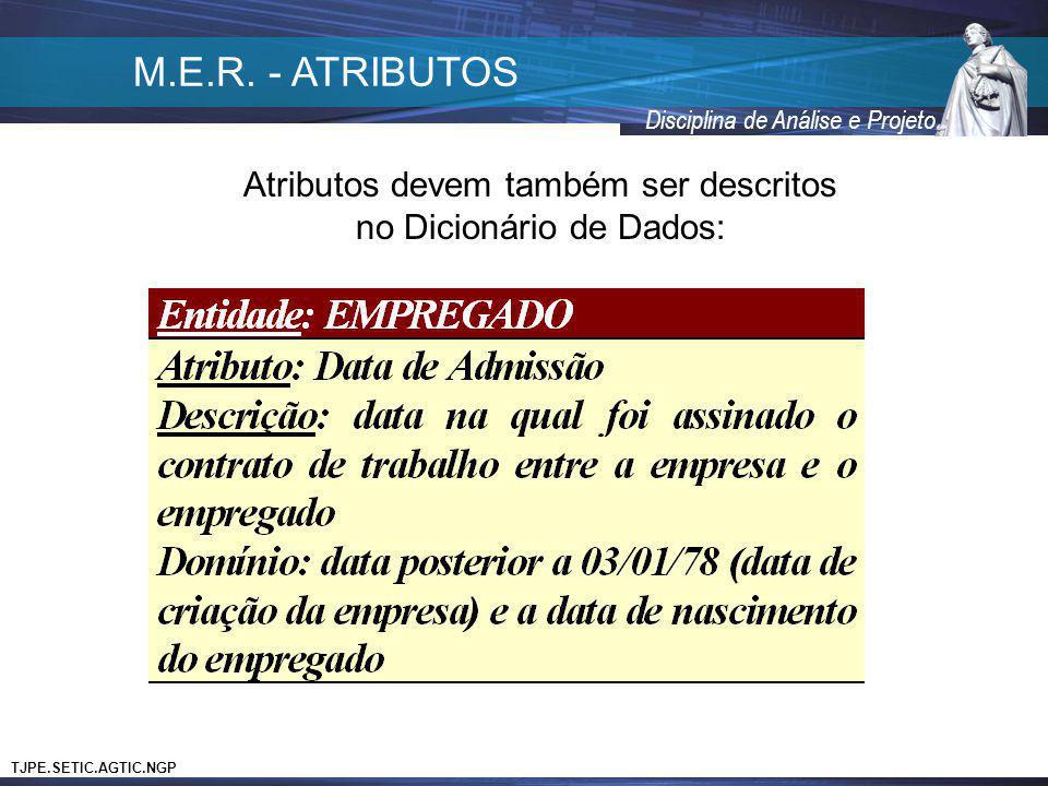 M.E.R. - ATRIBUTOS Atributos devem também ser descritos