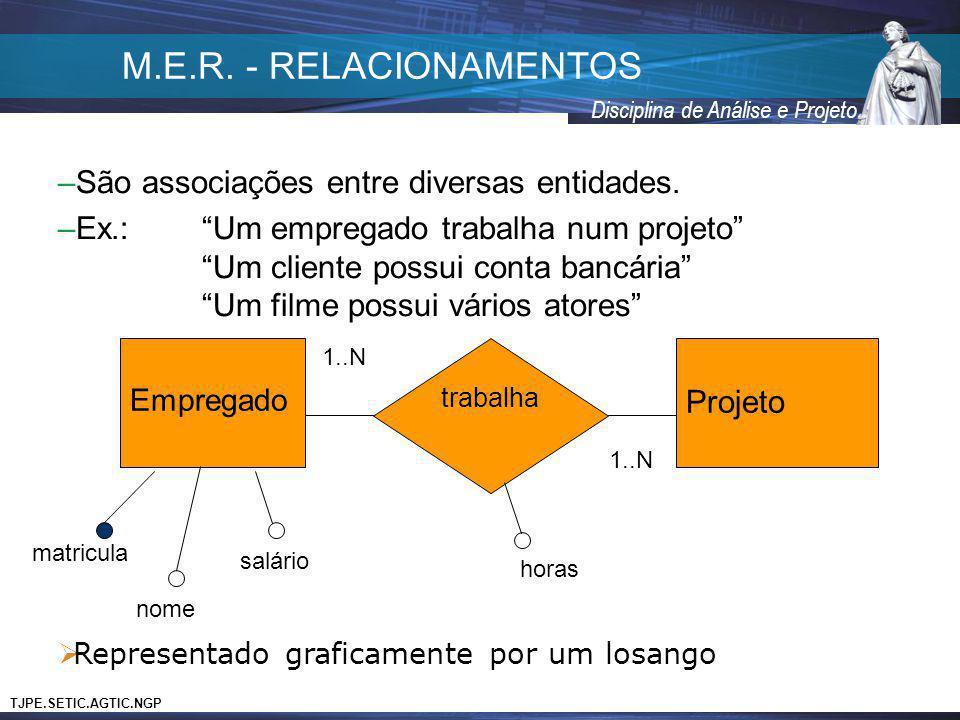 M.E.R. - RELACIONAMENTOS São associações entre diversas entidades.