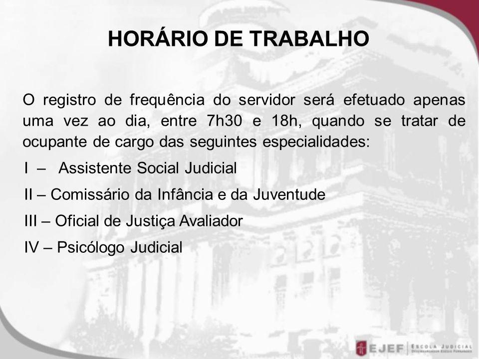 HORÁRIO DE TRABALHO