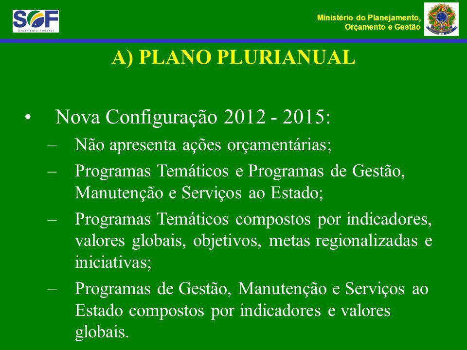 A) PLANO PLURIANUAL Nova Configuração 2012 - 2015: