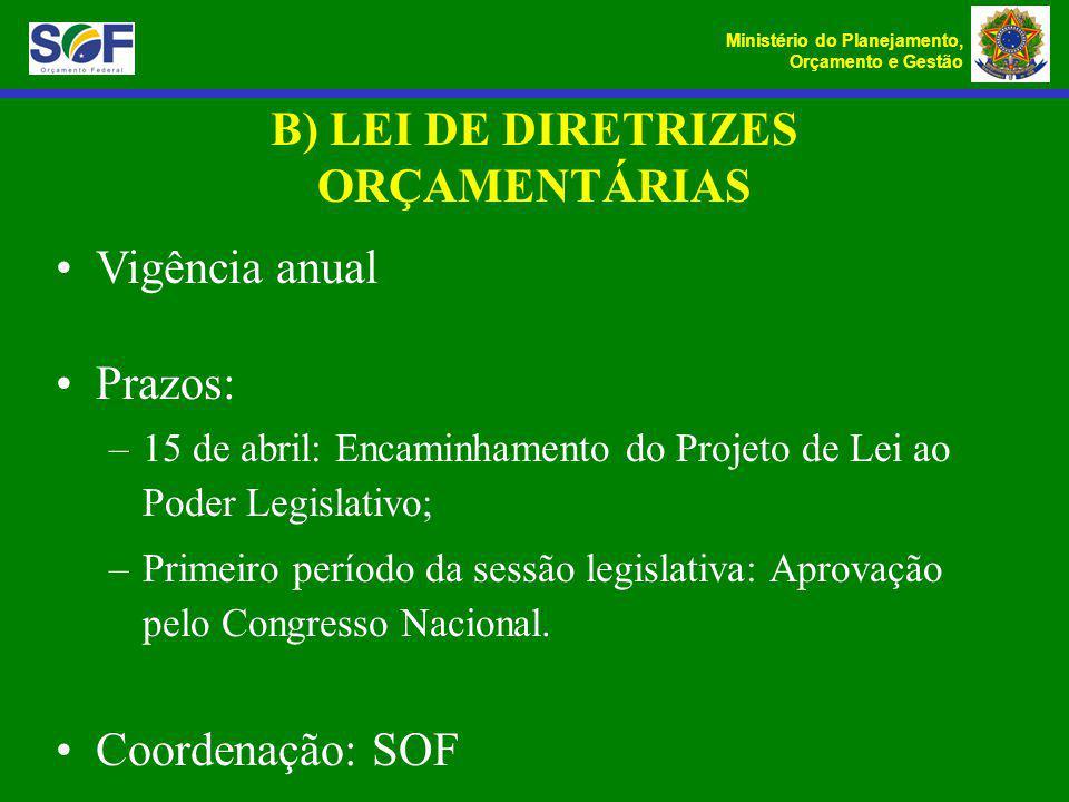 B) LEI DE DIRETRIZES ORÇAMENTÁRIAS
