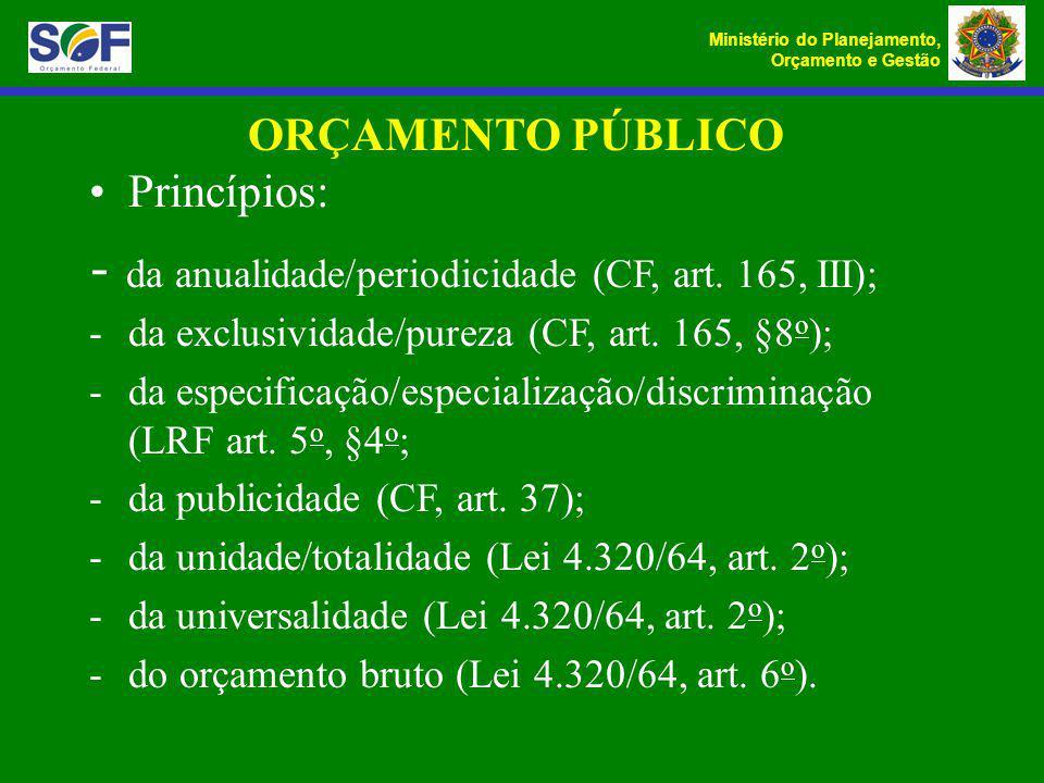 - da anualidade/periodicidade (CF, art. 165, III);