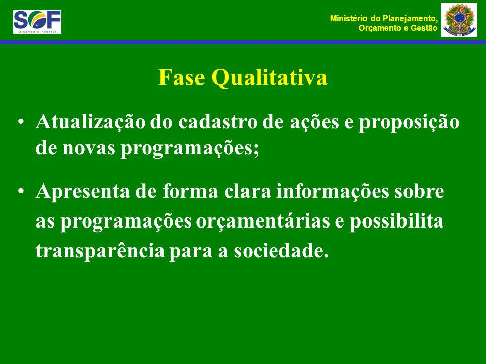 Fase Qualitativa Atualização do cadastro de ações e proposição de novas programações;